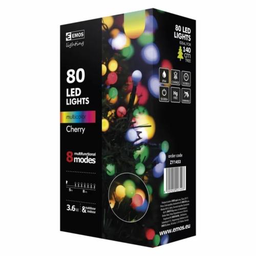 EMOS Karácsonyi Fényforrás Cherry Multifunkció 8M 80LED IP44, színes