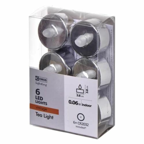 EMOS karácsonyi dekorációs világítás 6x LED mécses ezüst, 3.8 cm, vintage