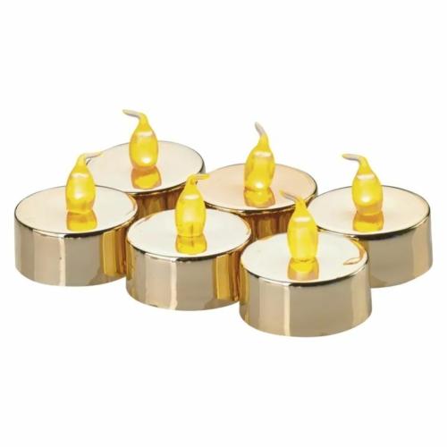 EMOS karácsonyi dekorációs világítás 6x LED mécses arany, 3.8 cm, vintage
