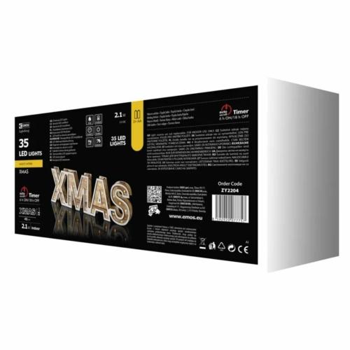 EMOS karácsonyi dekorációs világítás XMAS felirat, IP20, meleg fehér