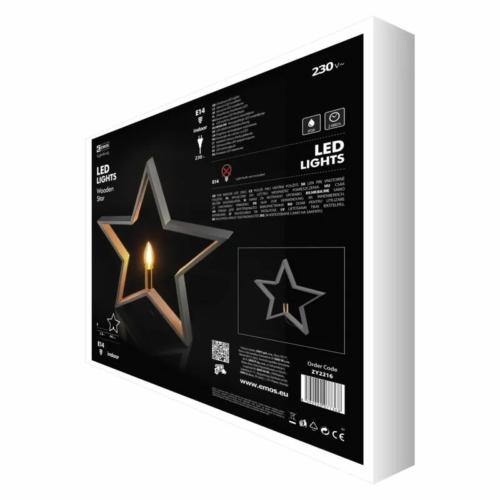 EMOS karácsonyi dekorációs világítás csillag, 44 cm, E14, IP20, szürke