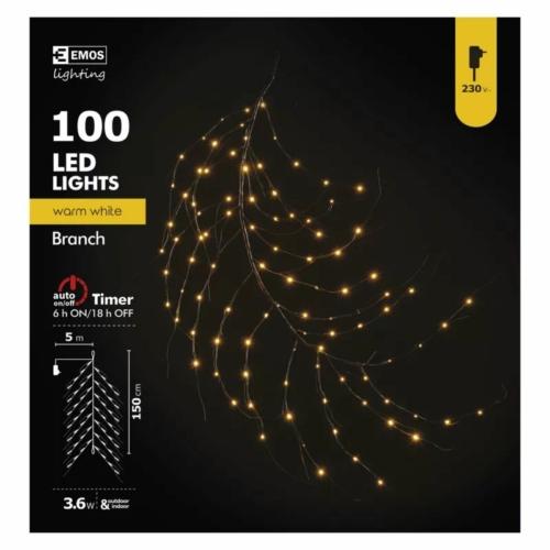 EMOS karácsonyi fényfüzér ÁGAK 1.5 m, 100 LED, IP44, időzítő, meleg fehér
