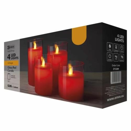 EMOS karácsonyi dekorációs világítás 4 db piros gyertya, IP20, vintage
